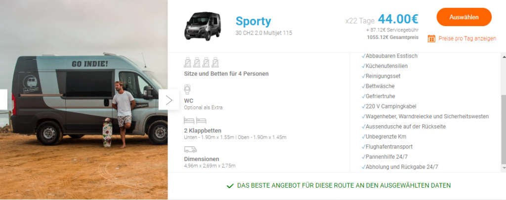 """Indie Campers"" im Test: Das Modell Sporty"