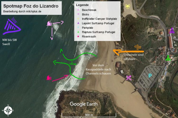 Surfen in Ericeira: Spotmap von Foz do Lizandro