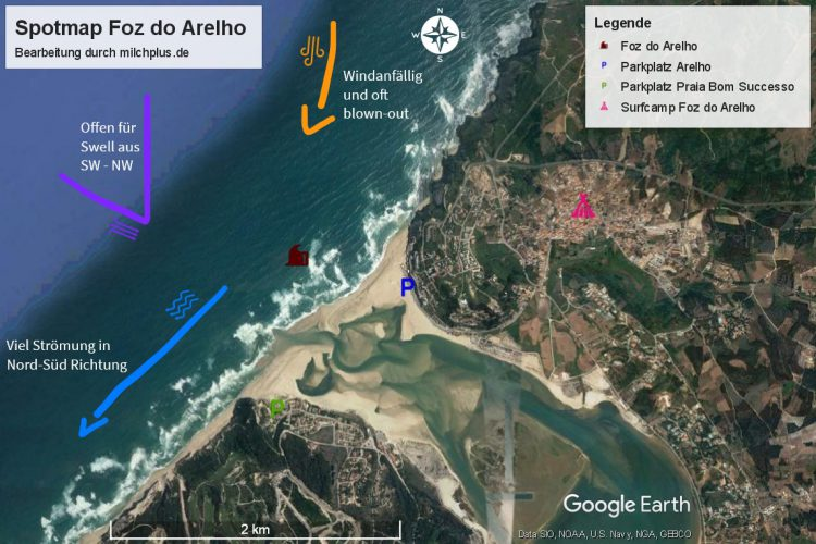 Surfen in Nazaré: Spotmap von Foz do Arelho